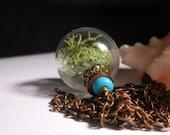 Earth Balance Moss Terrarium Organic Hollow Lampwork Bead Round Necklace- 24 inches