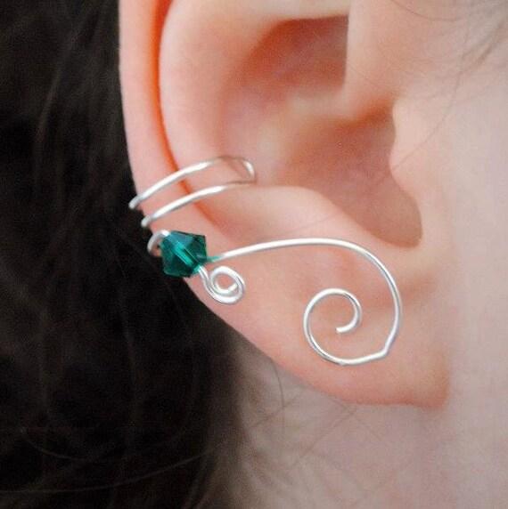 Swarovski Crystal Wedding Ear Cuff Custom Color, No Piercing, Bridesmaids Jewelry, Bohemian Wedding, Bridal Ear Cuff, Bridesmaids Gift Idea
