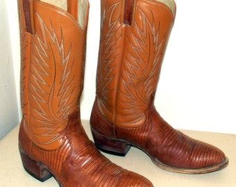 Vintage Dan Post Tan Lizard leather cowboy boots size 11 B  -stacked wood heels