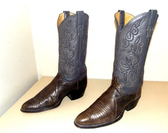 Vintage Justin brand grey reptile leather Cowboy boots size 9 d or cowgirl size 10.5
