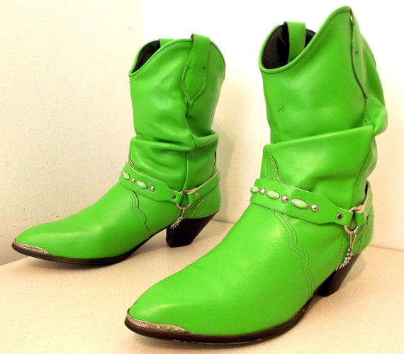 Vibrant Lime Green Western Fashion cowgirl boots with a slouchy look
