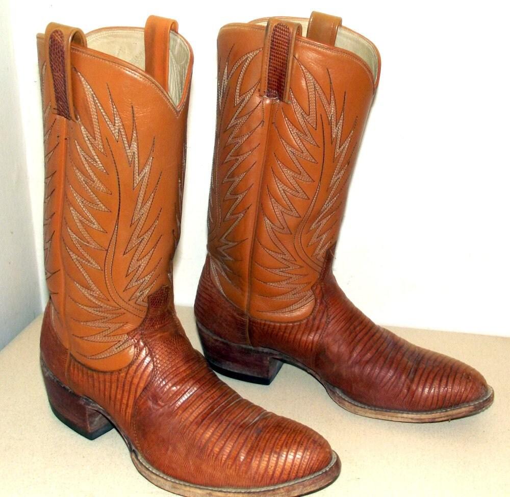 Vintage Dan Post Tan Lizard Leather Cowboy Boots Size 11 B