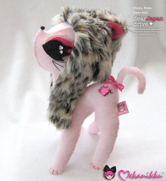 Pink Leopard Hoodie Kitty Cat plush