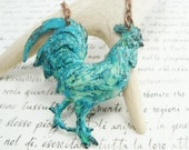 The Posh Farm Girl rooster necklace - patina metal country farm animal