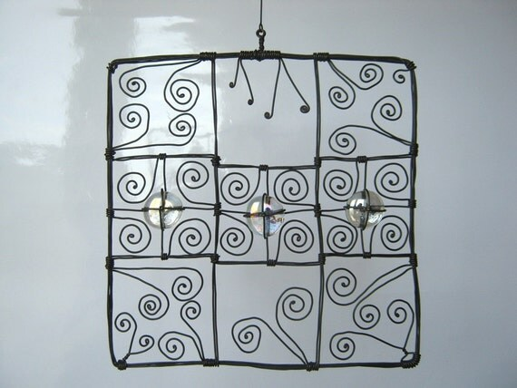 Reduced Price / Wire Art Square Sculpture In Colorlessness / Geometric Figure Of Metal And Glass