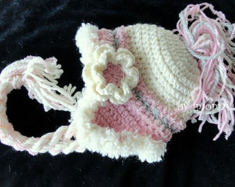 Crochet Hat, Kids Hat, White Hat for Girls, Baptism Gift for Baby Girls, Toddler Beanie Hat, Pink and White