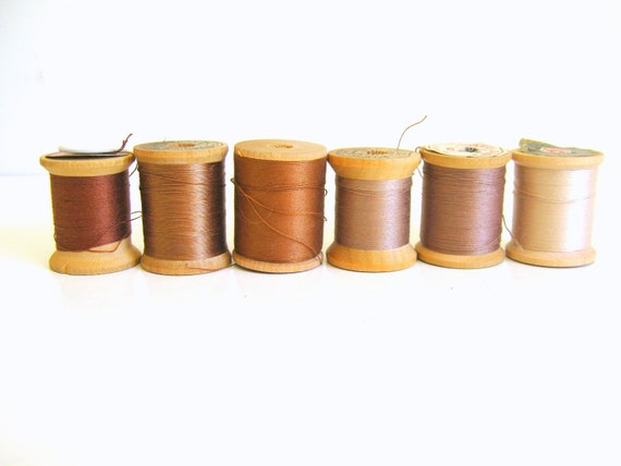 Wood Thread Spools Vintage Brown and CopperThread
