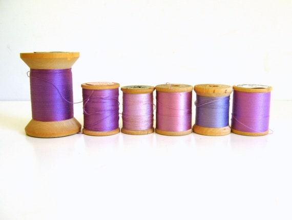 Vintage Thread Spools Purple Lavender