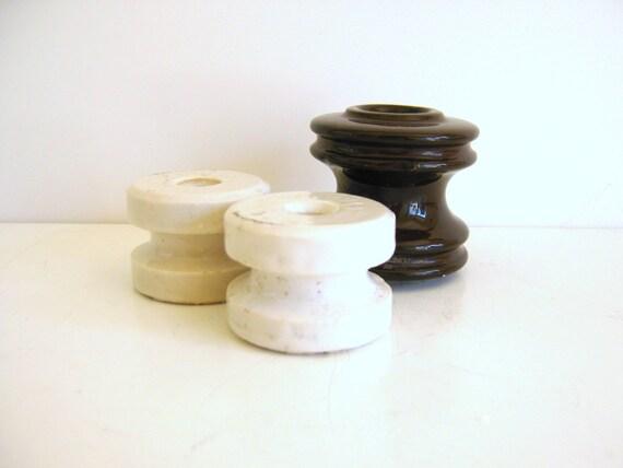 Vintage Ceramic Insulators White Brown