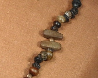 NECKLACE of WOOD BEADS, Wood Necklace, Wooden Necklace with Copper Accents, Wood and Copper Necklace