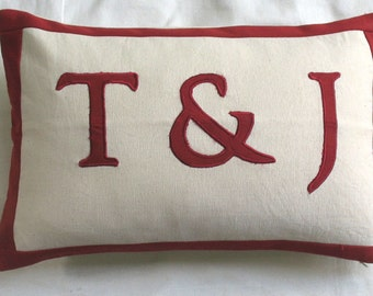12X16 inch monogram pillow with 3 letters - custom made oblong boudoir pillow cover