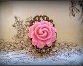 English Rose Filigree Bronze Adjustable Ring