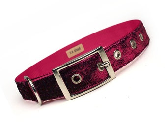 hot pink sparkle metal buckle dog collar (1 inch)
