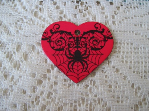 Heart Shaped Metal Dog Tag Black Spider Web Over Bright Red... Metal Dog Tag Jewelry Finding Metal Heart Charm Tag