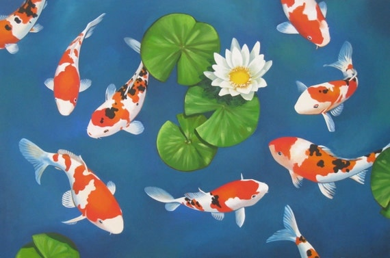 Koi giclee canvas print with acrylic paint for Koi pool paint