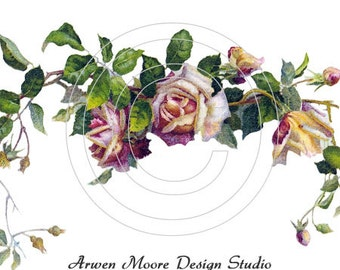 Beautiful Vintage Shabby Style Pink Yellow Roses Spray Waterslide Decals ro-107