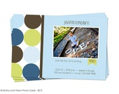 Polka Dot Fun - Green & Blue - Boy's Birthday Photo Invitation - Photo Paper, Cardstock or You Print
