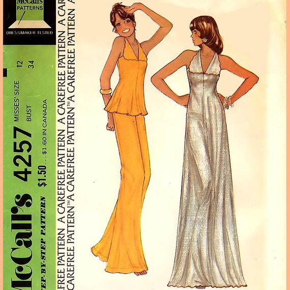 682 Womens Vintage Dress or Lounging Pajamas, Only 3 Pattern Pieces, size 12, Stephen Burrows Designs, Sewing Pattern Uncut McCalls 4257