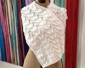 SALE White Shell Wrap Shawl