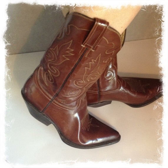 Items Similar To Vintage Cowboy Western Leather Boots