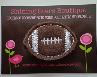 Hair Accessories - Felt Hair Clip - Brown And White Embroidered Boutique Felt Sports Football Hair Clippie