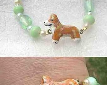 WELSH CORGI Red/White Handpainted Clay Bracelet Light Green Glass/Freshwater Pearl Beads