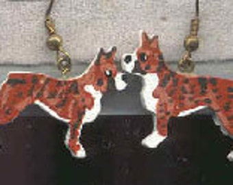 Wooden BOXER Handpainted Dog Breed Earrings