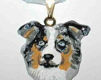 Dog Breed AUSTRALIAN SHEPHERD Handpainted Clay Necklace/Pendant CHOOSE Merle or Tri Color