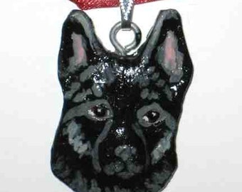 Dog Breed SCHIPPERKE Handpainted Clay Pendant/Necklace Gorgeous
