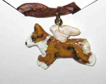 WELSH CORGI Red/White w/wings Handpainted Clay Art Necklace/Pendant NICE