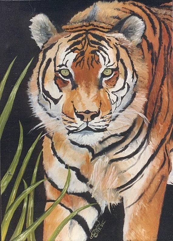 """Print Sale....Tiger Big Cat Art Matted Print 8 x 10 from Original Painting """"INTENSE"""" by artist Ann Becker"""