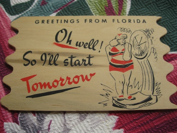 Vintage Florida 1950s souvenir wooden postcard - Greetings from Florida
