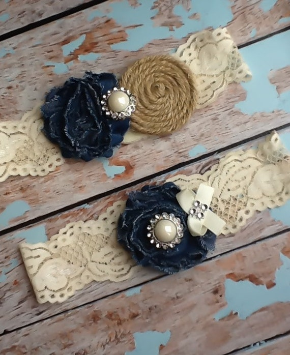 Country Wedding Garters: Wedding Garter / Burlap And Denim COUNTRY By