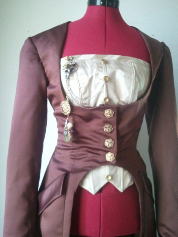 Brown Satin Steampunk Coat size 12