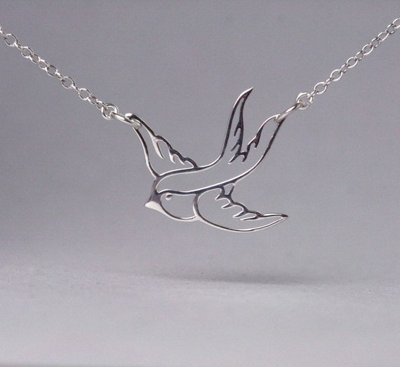 Swallow Bird Sterling Silver Necklace