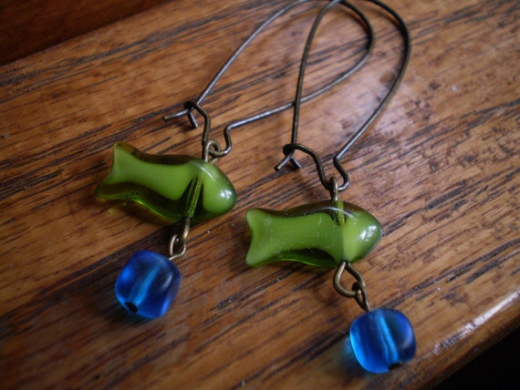 Green Czech Glass Fish Dangle Earrings with Antique Brass Kidney Wires