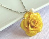 Real Yellow Rose Necklace - Sterling Silver, Natural Preserved Flower Jewelry, Nature Jewelry, Nature Necklace