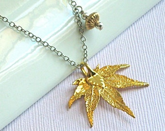 Real Leaf Necklace - Japanese Maple/Sterling Silver  - Eternity