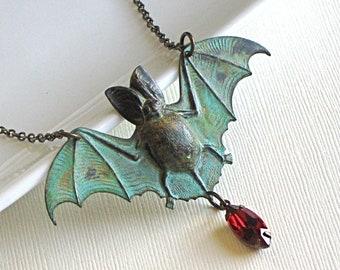 Vampire Bat Necklace - Verdigris Brass / Blood Red Jewel