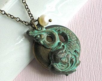 Koi Fish Locket Necklace - Verdigris Brass