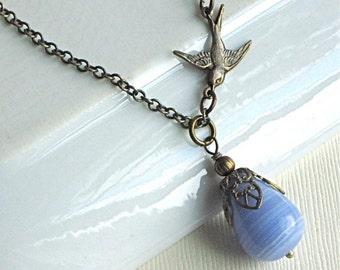 Blue Teardrop Bird Necklace - Glass