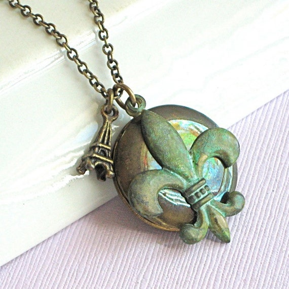 Fleur de Lis Locket Necklace - Verdigris Brass, Eiffel Tower