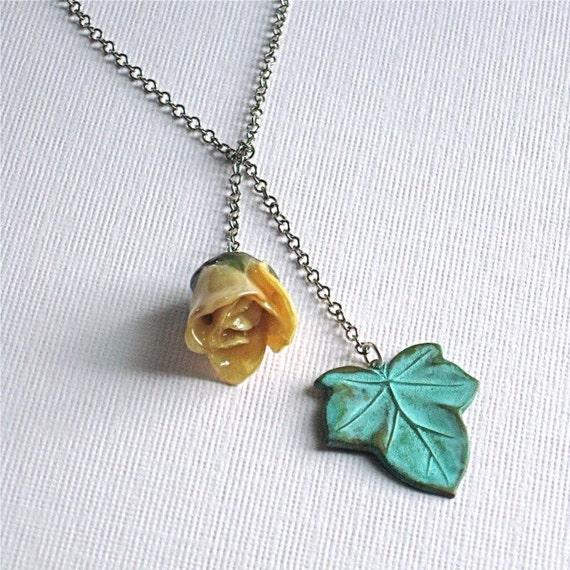 Real Rosebud Lariat Necklace - Verdigris Leaf/ Sterling Silver