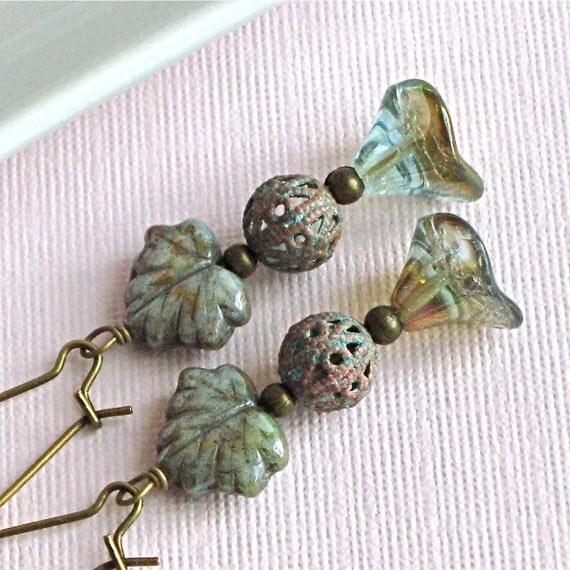 Aqua Earrings - Czech Glass Maple Leaf, Flower Jewelry, Brass, Verdigris