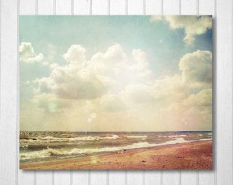 BUY 2 GET 1 FREE Beach Photograph, Summer, Home, Office, Childrens Room, Lake, Sand, Clouds, Landscape, Wall Decor -Windy Beach