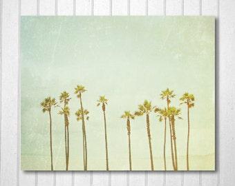 BUY 2 GET 1 FREE California Photo, Palm Trees Print, California Art, Retro Inspired, Blue, Green, Wall Decor, Nature Print - Palm Tree Dream