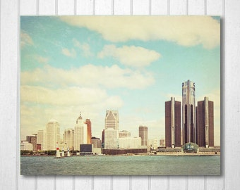 Detroit Photography, Detroit Skyline, Clouds, Vintage Inspired, Motown Photo, Brown, Wall Decor, Fpoe, Blue, White - Renaissance Center