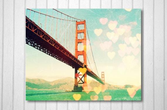 BUY 2 GET 1 FREE San Francisco Photography, Golden Gate Bridge, Orange, fpoe, Hearts, Landscape Photography, Wall Decor -Golden Gate Bokeh