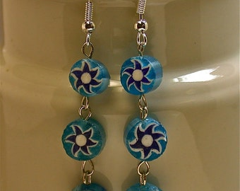 Vintage Millefiori Cane Glass Venetian Turquoise Dangle Drop Bead Earrings,Silver Ear Wires