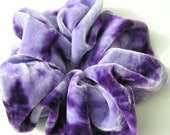 SILK VELVET Scrunchie, OOAKO, hand dyed, soft for hair, lavender, purple, silk scrunchie, ponytail, women, velvet - SplendidLittleStars
